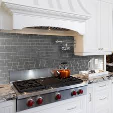 white and black glass tile kitchen backsplash grey granite