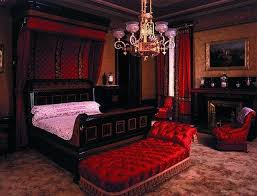 Gothic Style Bed Frame by Wooden Frame Bed Frame And White Bedding Set In Dark Red Bedroom