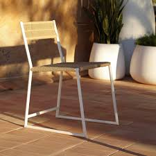 Galvanized Outdoor Chairs Contemporary Chair Sled Base Rattan Galvanized Steel