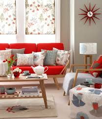 floral patterns in a mid century retro style living room go