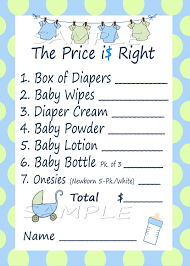 price is right baby shower game blue u0026 green by m2mpartydesigns