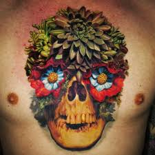 shoulder to chest tattoo tattoo skull flower chest tattoo tattoo for men nature flowers