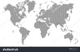 Black And White World Map Dotted World Map Black White Stock Vector 422419810 Shutterstock