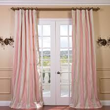 light pink cream stripe faux silk taffeta curtain panel silk