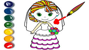 how to draw bride bride coloring pages for kids youtube
