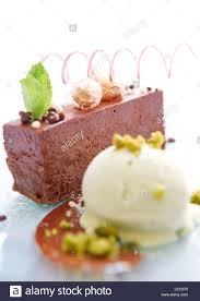 cuisine marquise chocolate marquise dessert with and pistachio nuts stock