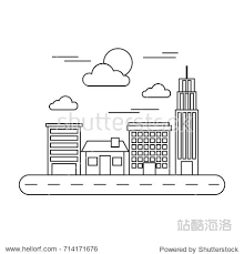 st駱hane bureau city view with office buildings and road doodle vector