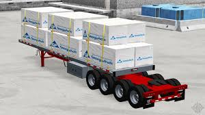 axle semi trailer platform with the cargo for american truck simulator