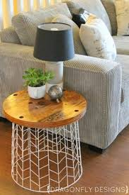 wire and wood basket side table diy accent table from a wire laundry basket wire basket laundry