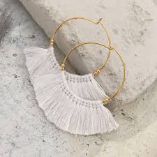 white earrings white tassel fringe earrings chunky boho earrings allergy free