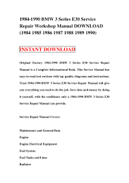 1984 1990 bmw 3 series e30 service repair manual download 1984 1985 u2026