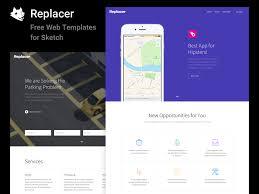 replacer ui kit u2013 free web templates sketch app free psds