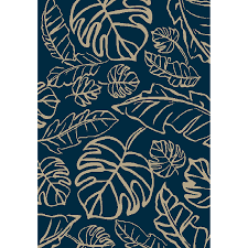 Area Rugs Tropical Shop Allen Roth Aveton Navy Rectangular Indoor Outdoor Machine