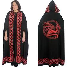 ritual cloak black grey celtic pentacle cotton hooded cloak cape or ritual