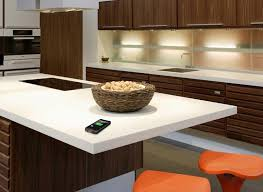 Wirelessly Charge Your Device On DuPont Corian Tabletops - Corian kitchen table