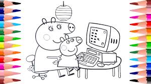painting peppa pig coloring pages coloring peppa pig on computer