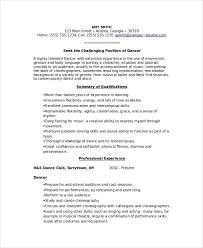 Example Of A Dance Resume To Dance Resume