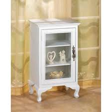 Cabinet End Table Glass Door Curio Display White Wood Shabby End Bedside Table