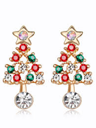 images of christmas earrings 2018 acrylic rhinestones hollow out christmas tree earrings colormix