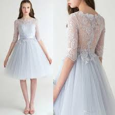 bridesmaid dress 2017 knee length bridesmaid dress ivory lace half sleeves