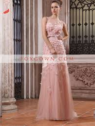 luxury pink floor length lurxury evening dress with sheer neckline