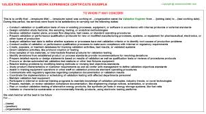 validation engineer work experience certificate