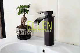 Oil Rubbed Bronze Faucet Bathroom Black Sink Tap Square Waterfall