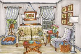 Bedroom Design Drawings Interior Rendered Illustration Drawing Hand