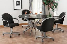 Dining Room Chairs With Arms And Casters Collection In Dining Chairs With Wheels With Catchy Upholstered