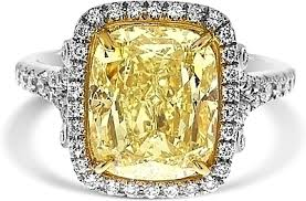 fancy yellow diamond engagement rings 5 03ct cushion cut fancy light yellow diamond engagement ring