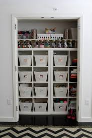 Craft Room Closet Organization - white beadboard craft room trim design ideas