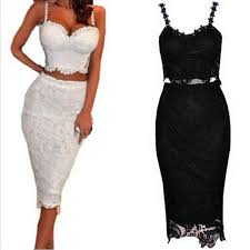 two dress set set women two black white lace dress club