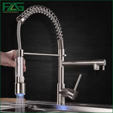 kitchen and bath design certification programs bathroom kitchen kitchen faucet polished nickel finish hand sprayer with led light spring style 360 degree rotating coldpopular