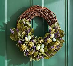 easter wreath live garden easter wreath pottery barn
