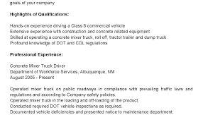 Delivery Driver Resume Examples by Driver Resumes Concrete Mixer Truck Driver Resume Sample