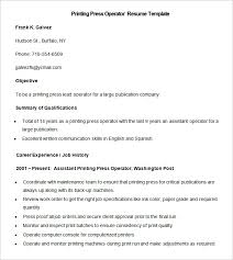 Resume Examples For Waitress by Printing Press Job Description Resume
