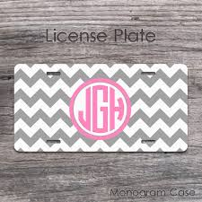 monogrammed plate gray chevron and pink circle monogrammed license plate monogramcase