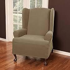 Stretch Wing Chair Slipcover Amazon Com Maytex Stretch Reeves 1 Piece Wing Chair Slipcover