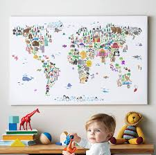 World Map Canvas Animal World Map Print By Artpause Notonthehighstreet Com