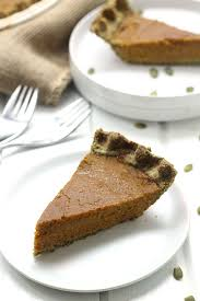 paleo pumpkin pie in a pumpkin seed crust the healthy maven