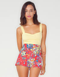 buy motel dixie high waisted shorts in red ditsy floral print