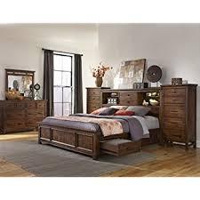 amazon com intercon wolf creek king storage bed w bookcase