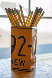decoration bureau york york license plate pencil holder pencil cup unique pencil