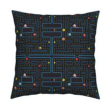 halloween city grants pass pacman retro video game pattern fabric khaus spoonflower