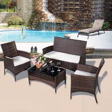 4 pcs outdoor patio rattan table sofa set with cushions outdoor