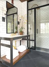 Mirrored Subway Tile Backsplash Bathroom Transitional With by Black Subway Tiles Backsplash Black Tile Bathroom Contemporary