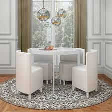 white space saver table white hi gloss round dining table with pu white leather chairs