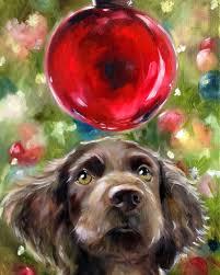 print boykin spaniel dog face puppy christmas art print of oil