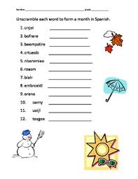 spanish seasons and months worksheet google search