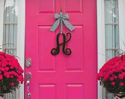 Door Monogram Decoration Monogram Wreath Front Door Wreath Monogram Decoration
